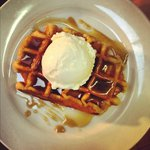 Waffles, with homemade toffee sauce