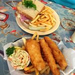A small order of Fish & Chips, along with a 776 Delight (Corned Beef Sandwich)