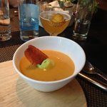 sweet potato soup with a glass of Belgian beer - perfect start of a meal