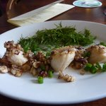 Hazelnut and Butter Grilled Scallops with Dill and Chervil Salad.
