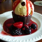 Belgian Chocolate Basket - Fruit and Ice Cream