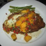 macadamia crusted grouper with mango salsa