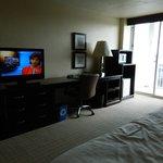 TV, desk, fridge/micro