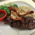 Steak & Prawn for a quick late lunch