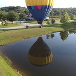 The hot air balloon that was airborne next to us the entire flight as she lands