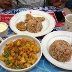 Samosas, Rice and Potato subzi prepared by shanti