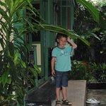 dans le jardin devant l'entrée
