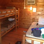 Inside of cabins (bunk beds and a full bed) perfect for a family of four
