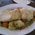 Excellent fresh fish with vegetables