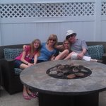 Family by the firepit