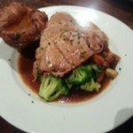Succulent roast pork with homemade Yorkshire.