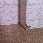 Cracked tiles along the floor