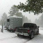 Circle Pines KOA Campground, its snowing