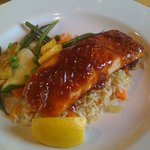 Salmon with sweet BBQ sauce, rice pilaf