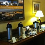 Coffee, Tea, and Hot chocolate was available in the lobby area anytime time we passed through