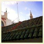 Aus dem Fenster sieht man die Spitze der Giralda, so nah ist die Kathedrale