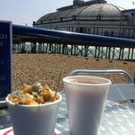 Seating at Perrywinkles, next to Eastbourne Pier