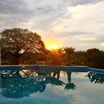 The beautiful pool are at sundown