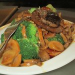3 Kinds Mushroom w/ Broccoli Flower in Oyster Sauce