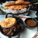 Top: Fish & Chips, Bottom: Crosby Beef & Mushroom Pie
