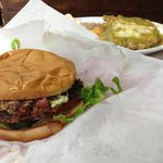 Billy Kid burger and green chile smothered chicken fried steak. YUM! PERFECTION!