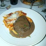 Pepper Steak,  Fillet mignon. Pasta did come on a second Plate, I slid it on with the steak. So