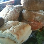 The breads are freshly baked.