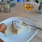 Rhubarb dessert with ice cider