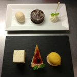 just two of the desserts on offer, selection of lemon, chocolate tort baileys ice-cream