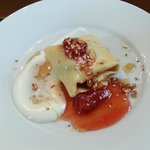 Breakfast appetizer - Crepe with yoghurt, granola and berries