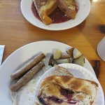 Berry Stuffed French Toast and Egg, Home Fries, Sausage & Patriot Toast