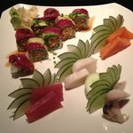 first plate I ordered, Kobe beef roll w/sashimi