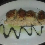 Parmesan Scallops with lobster risotto