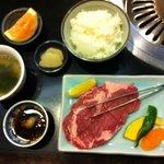 Niku no Yamamoto Grilled Steak Set (salad and drink, too)