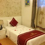 beds decorated with flowers to welcome arrival