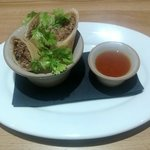 Duck spring rolls with sticky hoi sin sauce
