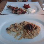 Lamb & chicken kebab, and mushroom risotto (to die for!)