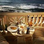 Breakfast in the room overlooking the ocean