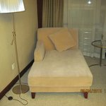 Comfortable settee in the room.