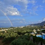 A rainbow over the heights after a rare shower.
