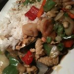 Husband's plate with rice, so colourful!
