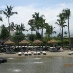 Small beach area inside resort