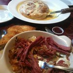Corned Beef 'Hash' and monster Cinnamon Roll