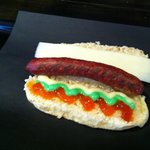 the christmas dog! red pepper jelly, garlic aioli, and old ched!
