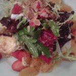Warmer Ziegenkäse mit Salat, Orangenfilets, Honig und Ingwer