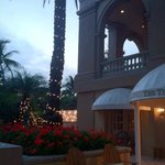 Dusk shot of the entrance/outdoor dining area.
