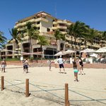 Beach volleyball in front of Casa Magna pool