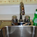 small sink in kitchenette complete with dishwashing liquid