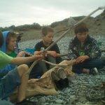 Kids fire on the beach