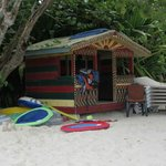 The little hut on the beach.  Kayaks and floats are kept over there